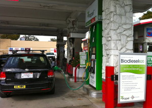 The author fills up her Volkswagen TDI with a diesel blend made from Solazyme's algae-based crude oil. Solazyme has partnered with the automaker to test their product on the road.